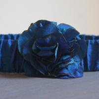 Cobalt Blue Silk Flower Belt